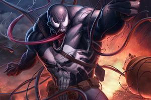 Venom With Gun Wallpaper