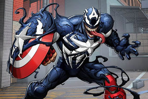 Venomized Captain America Wallpaper