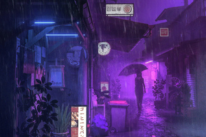 Village Street Neon Girl Umbrella Wallpaper