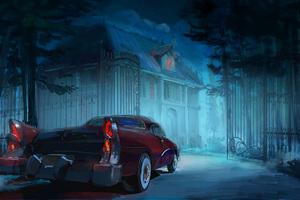 Vintage Car Man Back Home