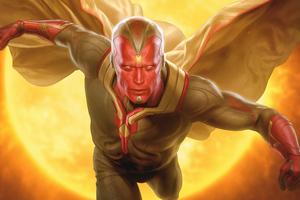 Vision Marvel Artwork 8k