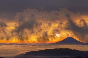 Volcano Mountains Sky Fantasy Orange Clouds Sunset 5k Wallpaper