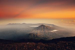Volcano Sunset Landscape 4k Wallpaper