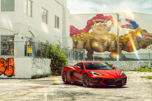 Vossen Beautiful Wrapped Corvette C8 8k Wallpaper