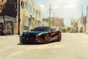 Vossen Wynwood Black Ferrari F12 8k Wallpaper