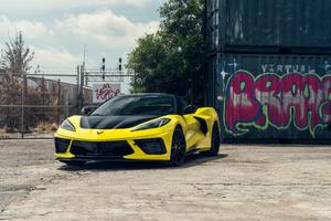 Vossen Yellow And Black Corvette C8 8k Wallpaper