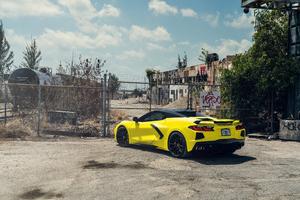 Vossen Yellow And Black Corvette C8 Wallpaper