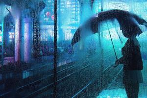 Waiting In Rain Wallpaper