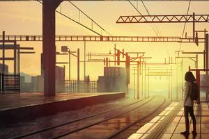 Waiting Train Station Wallpaper