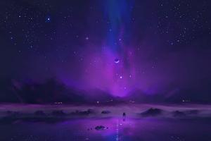 Walking In Milky Way Lake 5k Wallpaper