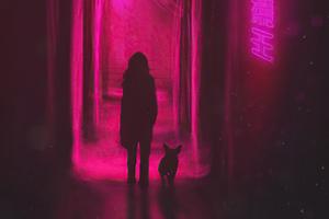 Walking In Neon Alley Wallpaper
