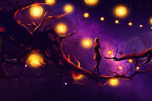 Walking On Magical Tree Wallpaper