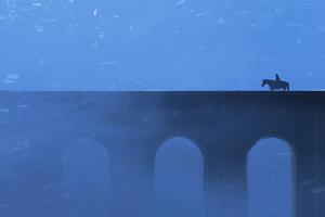 Walking With Horse On Bridge 4k