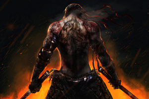 Warrior Back Tattoo Katana Wallpaper