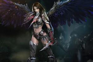 Warrior Dark Angel Art 5k