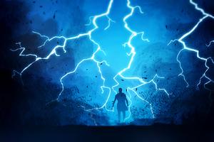 Warrior Fantasy Lightning Wallpaper