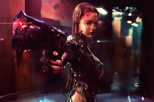 Warrior Girl Cyberpunk Futuristic Artwork Wallpaper