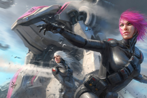 Warrior Girl Sci Fi Cyberpunk Futuristic Artwork 4k Wallpaper