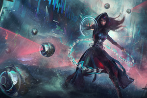 Warrior Girl Sci Fi Cyberpunk Futuristic Artwork