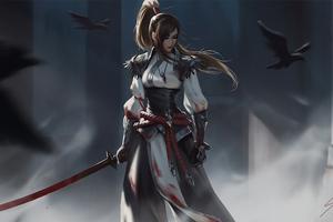 Warrior Girl Sword Artwork 4k