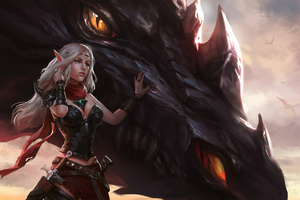 Warrior Girl With Dragon