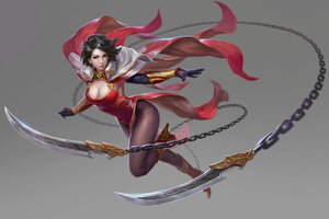 Warrior Girl With Flying Knife Wallpaper