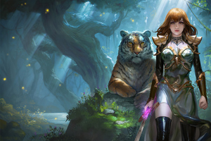 Warrior Girl With Tiger Wallpaper