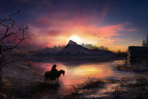 Warrior Horse Birds Flying Sunrise Landscape View