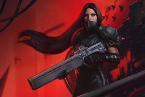 Warrior Long Hair Girl With Gun