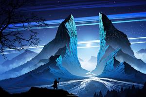 Warrior Mountain Blue Night 4k Wallpaper