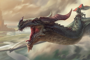 Warrior Riding Dragon Wallpaper