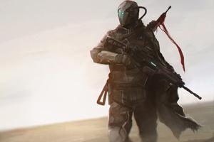 Warrior With Rifle Desert