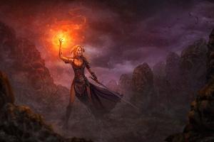 Warrior Woman Doing Magic