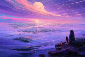 Watching Moon City Wallpaper