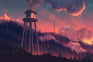 Watchtower Clouds Forest Mountain Landscape Digital Art