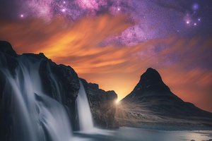 Waterfall Glowing Sky Stars Mountains 5k Wallpaper