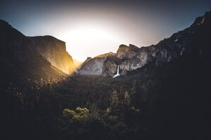 Waterfall Light Flare Nature Outdoors Yosemite 5k Wallpaper