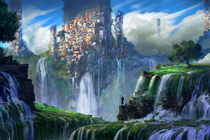 Waterfall Slums Wallpaper