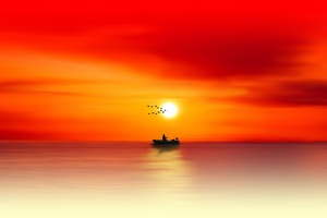 Waters Sea Sun Dusk Evening