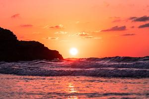 Waves Ocean Sunset 4k Wallpaper