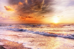 Waves Sand Blue Sky Evening Landscape Wallpaper