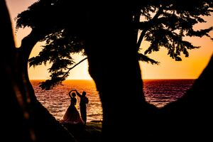 Weeding Couple Beach Silhouette Wallpaper