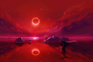 Whale And A Ring Eclipse Wallpaper