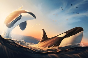 Whales Jumping Out Of The Water Digital Art 4k