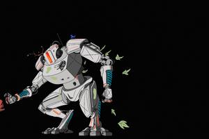 When Robot Meets Nature 5k Wallpaper