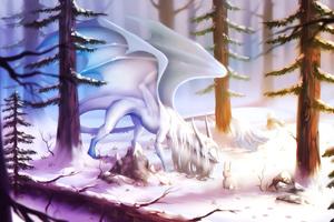 When White Dragon Meets Cute Rabbit Wallpaper