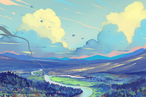 White Blue Red Clouds Scenery Digital Art Painting
