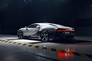 White Bugatti Chiron Super Sport Rear Side View 5k