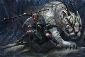 White Demon Tiger With His Warrior