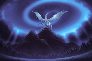 White Dragon On Mountain Wallpaper